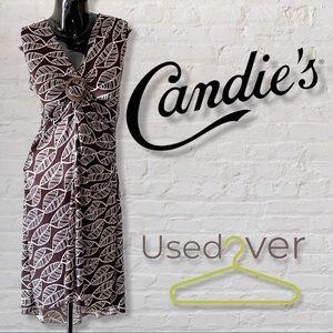 Candies Brown w/ Leaf motif design dress SzL